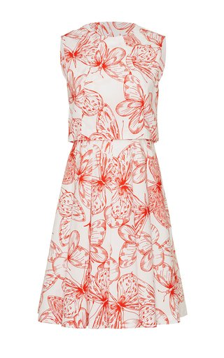 Butterfly Cotton Poplin Seamed A-Line Dress