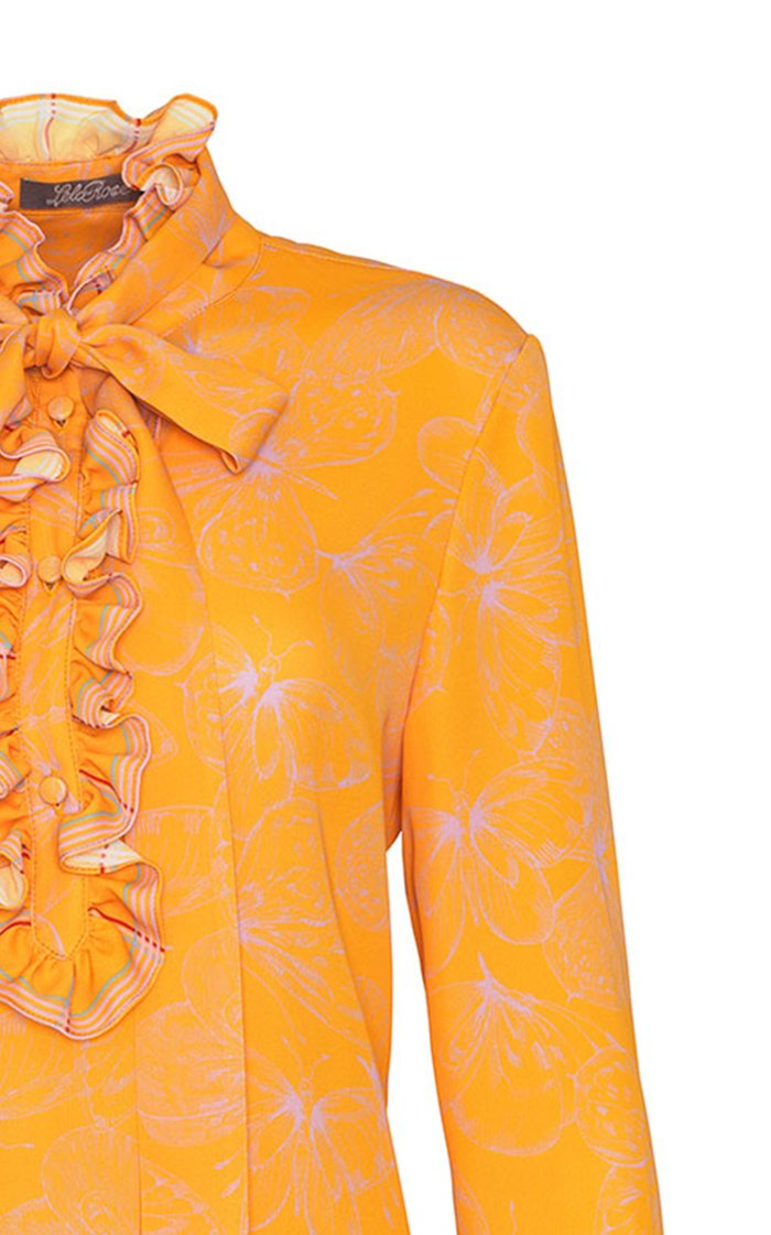 Butterfly Printed Georgette Ruffle Detail Blouse