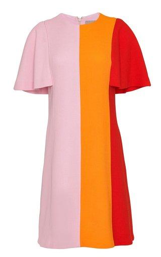 Flutter Sleeve Wool-Blend Tunic Dress