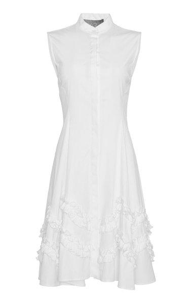 Sleeveless Cotton-Blend Flare Hem Dress
