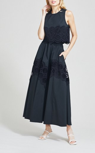 Embroidered Eyelet Poplin Sleeveless Top
