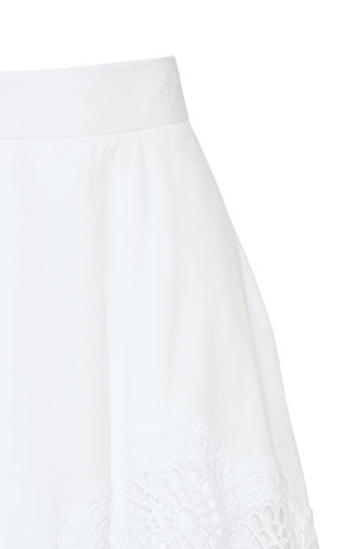 Embroidered Eyelet Poplin A-Line Skirt