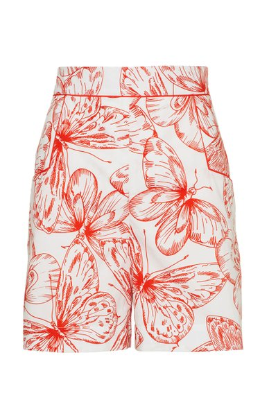 Butterfly Cotton Poplin High-Rise Shorts