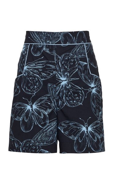 Butterfly Cotton Poplin High-Rise Shorts
