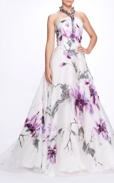 Floral Embellished Silk Gown