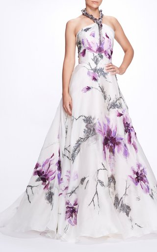 Floral Embellished Silk Gown