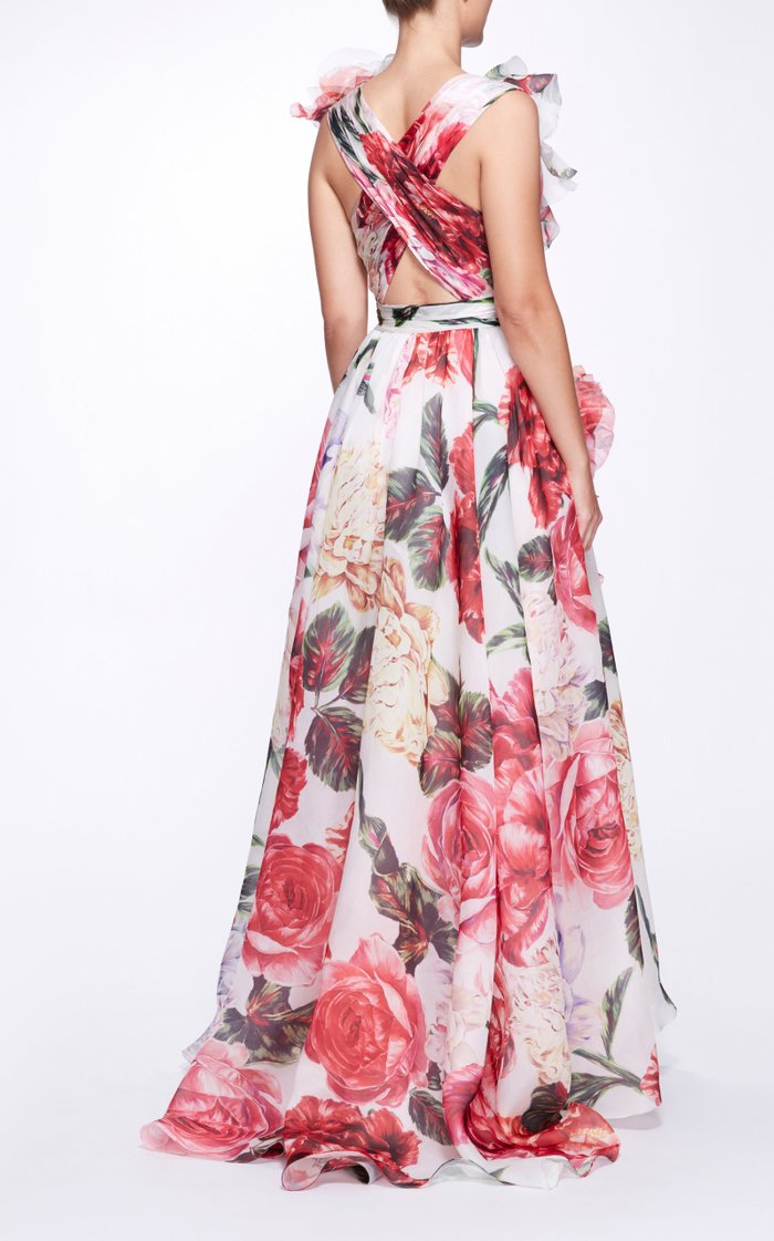 Ruffle-Trimmed Silk Wrap Gown