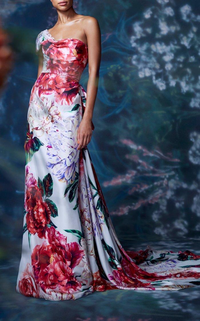 Floral Silk Gown