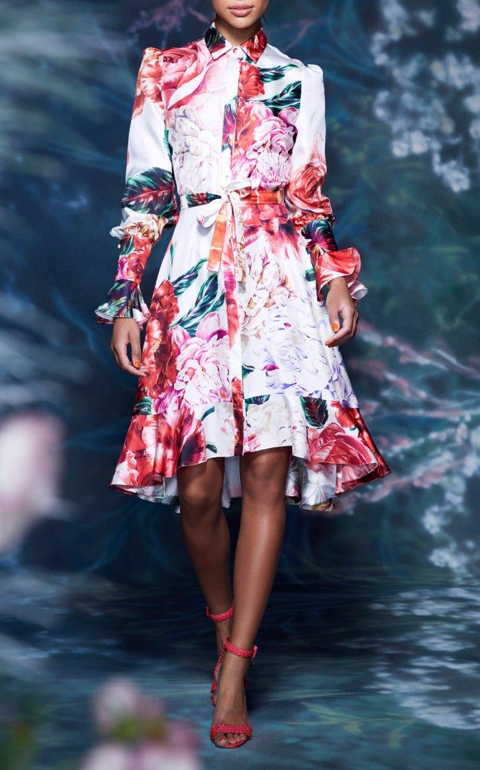 Floral Silk Shirt Dress