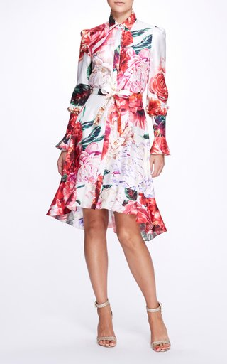 Floral Silk Shirt Dress