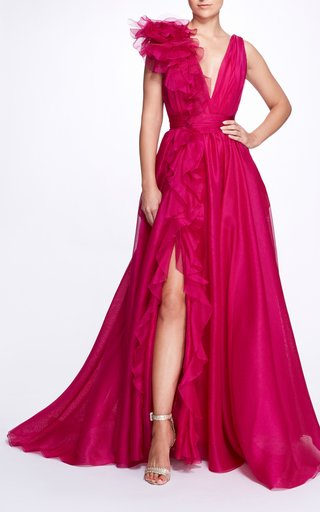 Ruffled Silk Gown