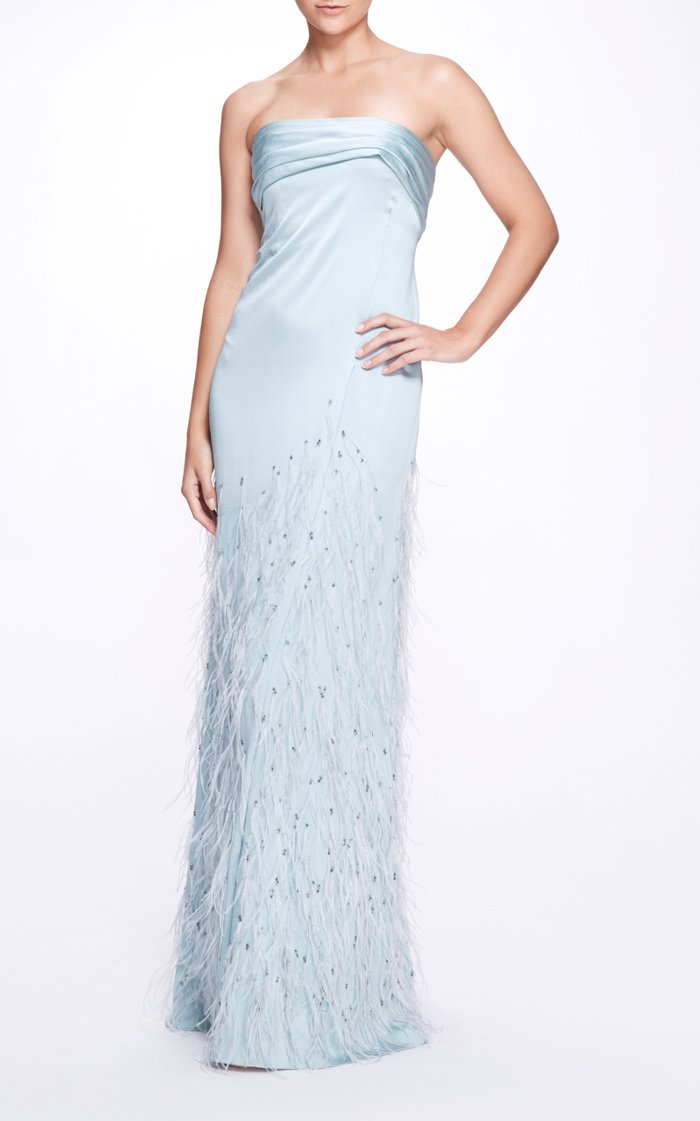 Feathered Satin Gown