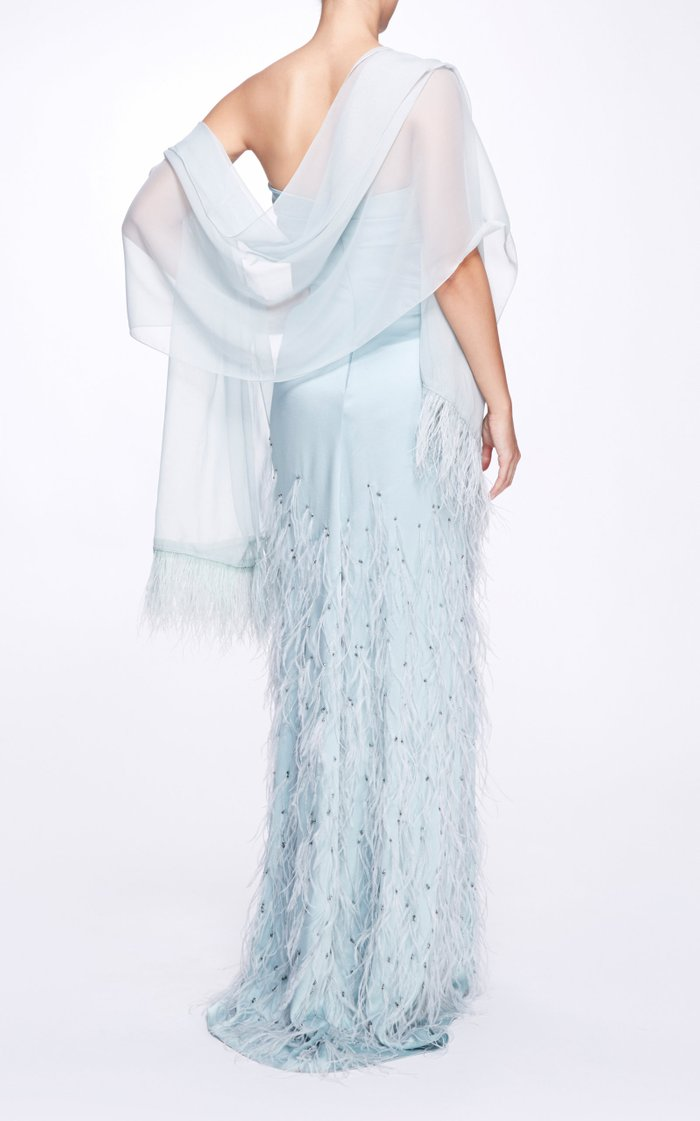 Feather-Trimmed Silk Robe