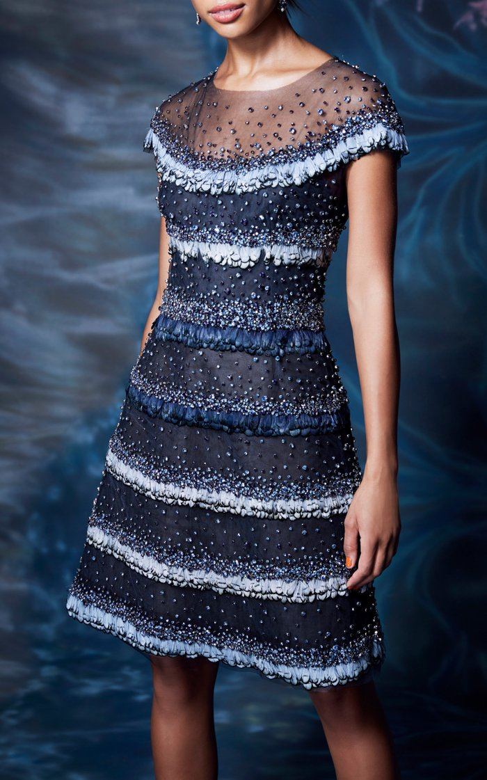 Beaded Feather-Embellished Tulle Dress