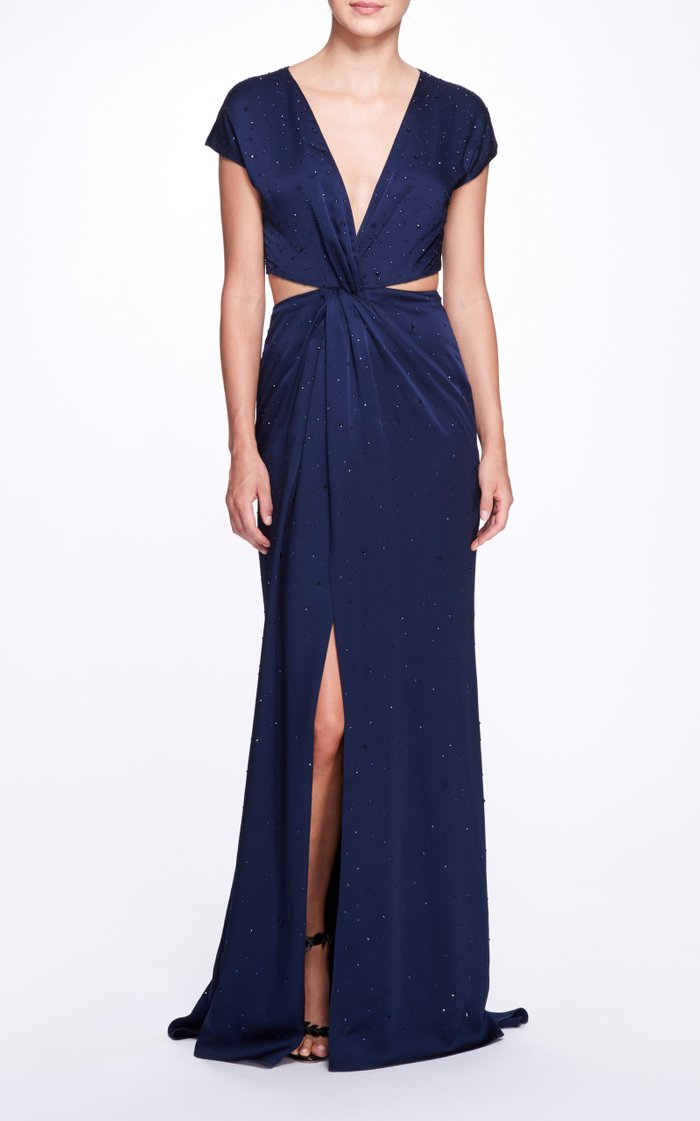 Draped Satin Twist Gown