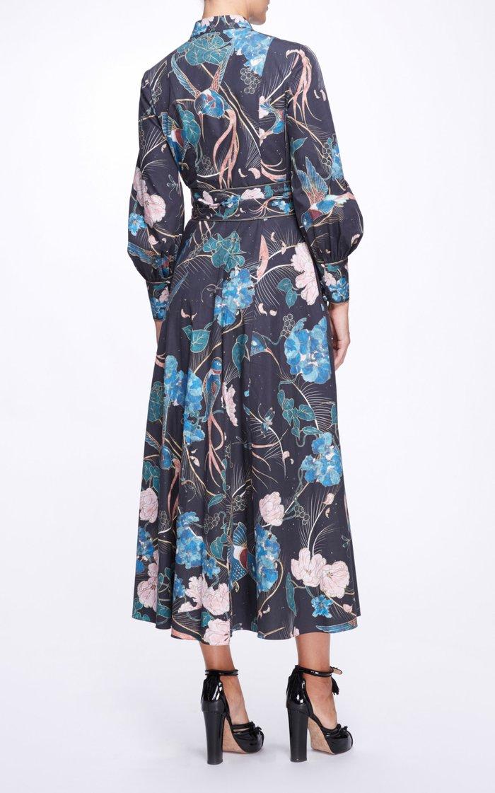 Printed Silk Bow Dress