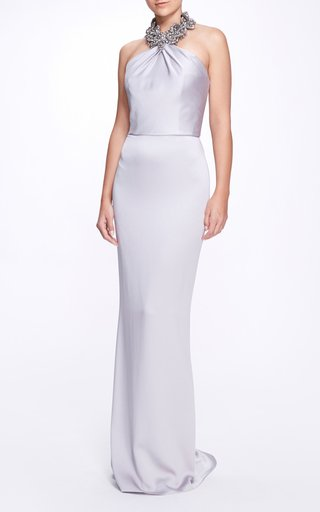Embellished Satin Gown