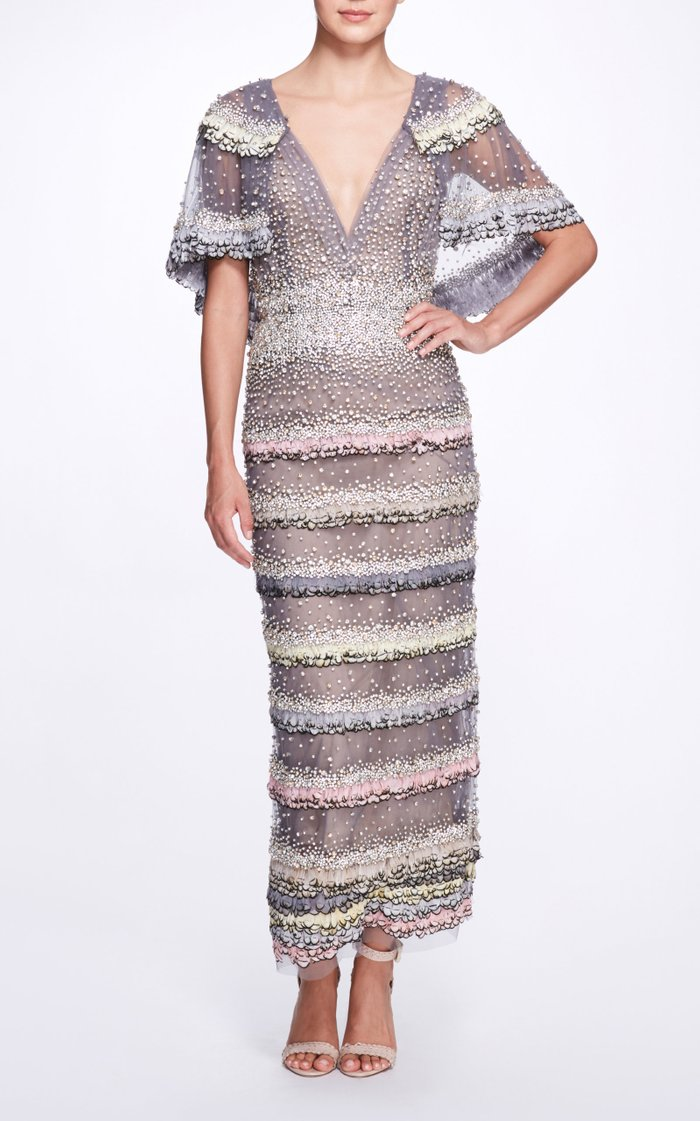 Beaded Feather-Embellished Tulle Cape