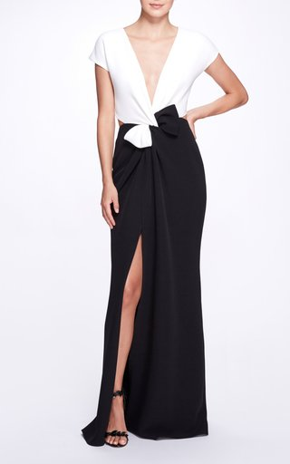 Two-Tone Duchess Satin Twist Gown