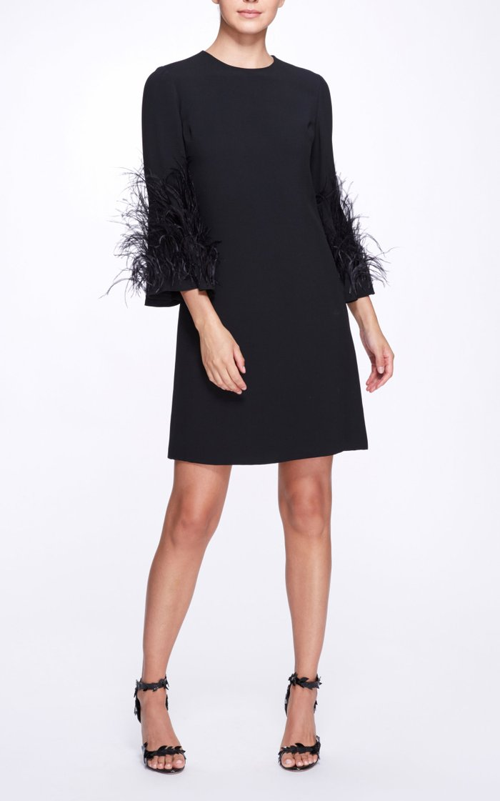 Feathered Creped Dress