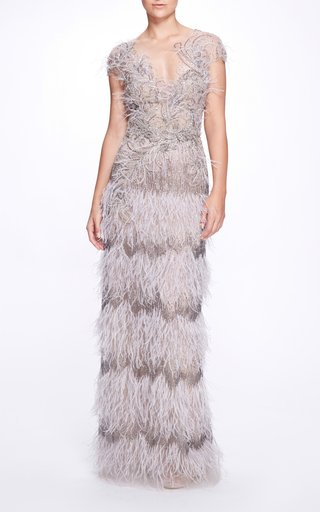 Feathered Tulle Gown