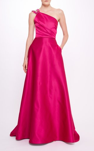 Double Duchess Satin One Shoulder Gown With Beaded Strap