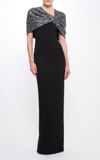 Stretch Crepe Gown With Sequin Cape