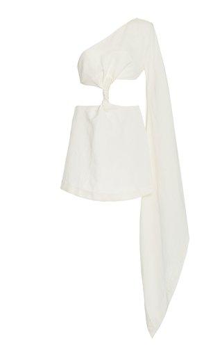 Lucienne Cutout Linen-Blend One-Shoulder Mini Dress
