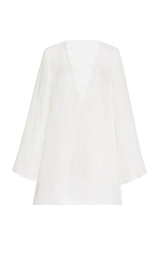 Naomi Lace-Up Linen-Silk Mini Dress