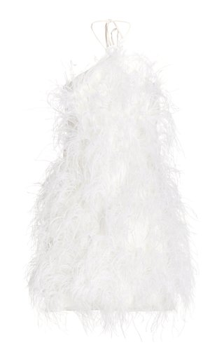Vale Feathered Open-Back Mini Halter Dress
