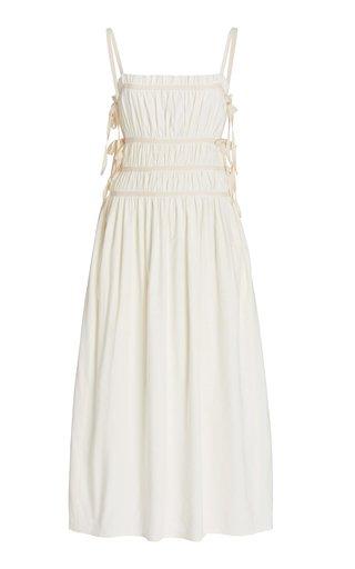 Lola Ruched Linen-Blend Midi Dress