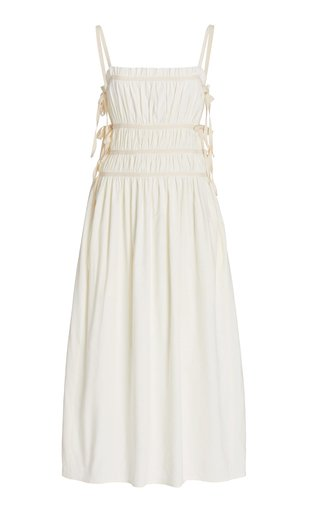 Lola Ruched Linen-Blend Midi Dress