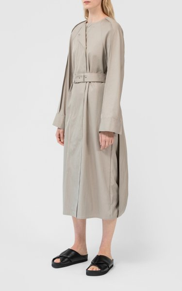 Cotton-Blend Belted Trench Coat