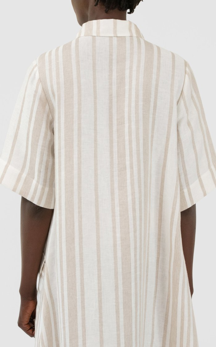 Linen Asymmetrical Closure Shirt Dress