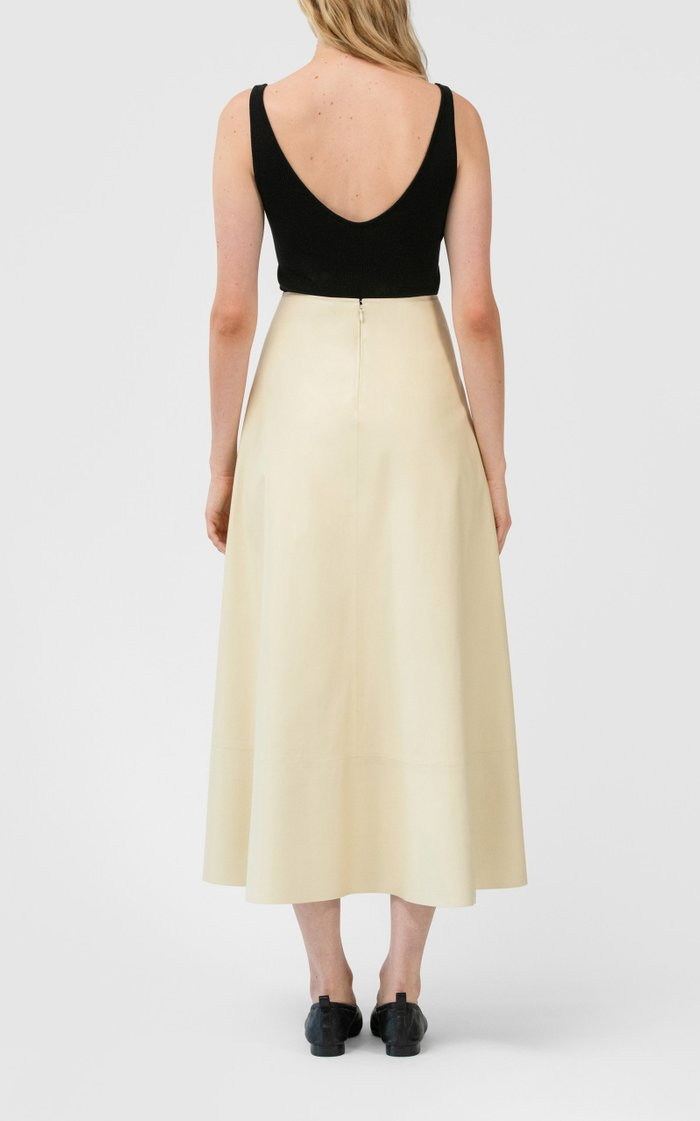 Gathered Waist Midi Skirt