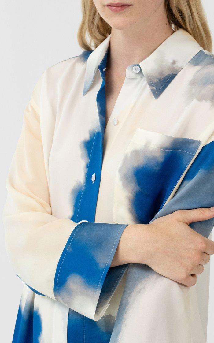 Silk Button Front Shirt Dress