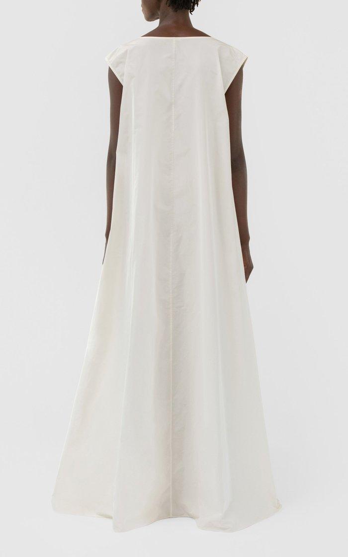 V Neck Tuck Waist Gown