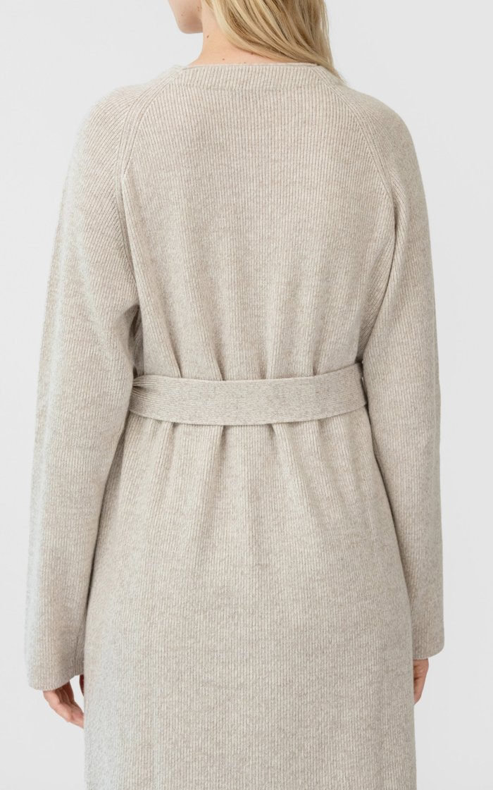 Cotton-Blend Button Front Ribbed Cardigan