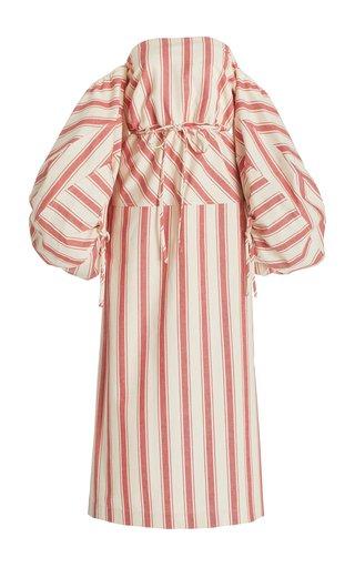 Balloon-Sleeve Striped Cotton Strapless Midi Dress