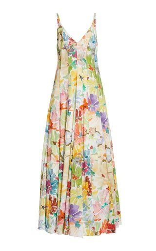 Million Pleats Floral Maxi Dress