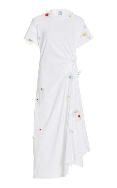 Floral-Accented Cotton T-Shirt Dress