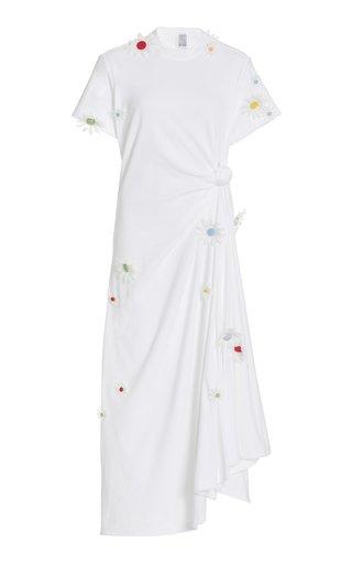 Floral-Accented Cotton T-Shirt Dress