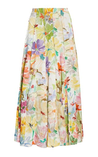 Million Pleats Floral Maxi Skirt