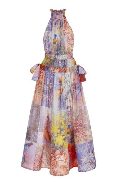 Botanica Patchwork-Print Linen-Silk Midi Halter Dress
