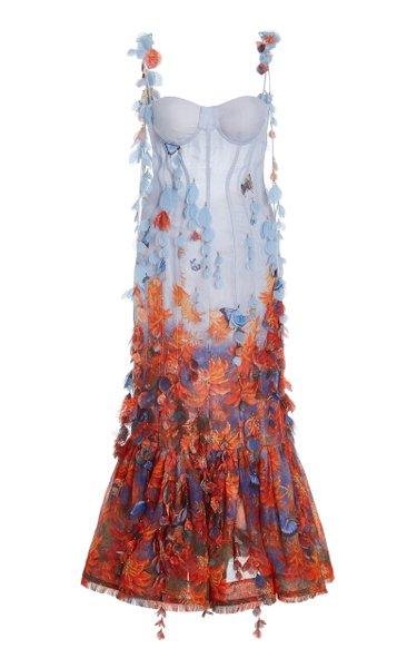 Botanica Petal-Detailed Printed Linen-Silk Midi Dress