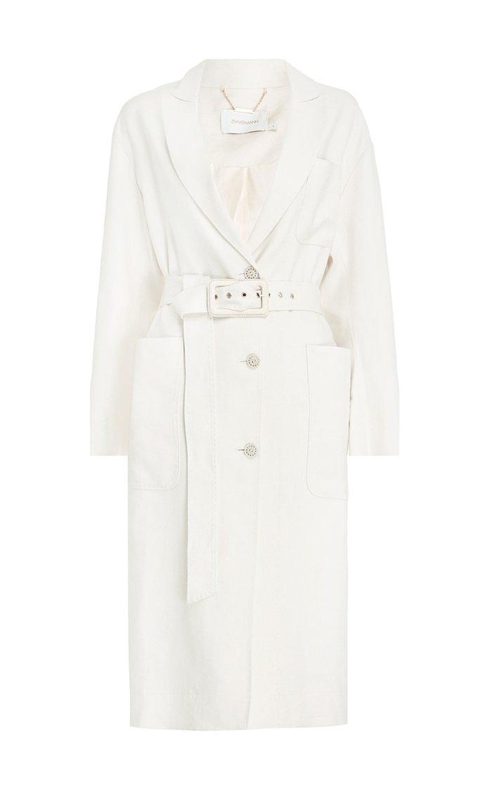Luminous Belted Linen-Silk Duster Coat