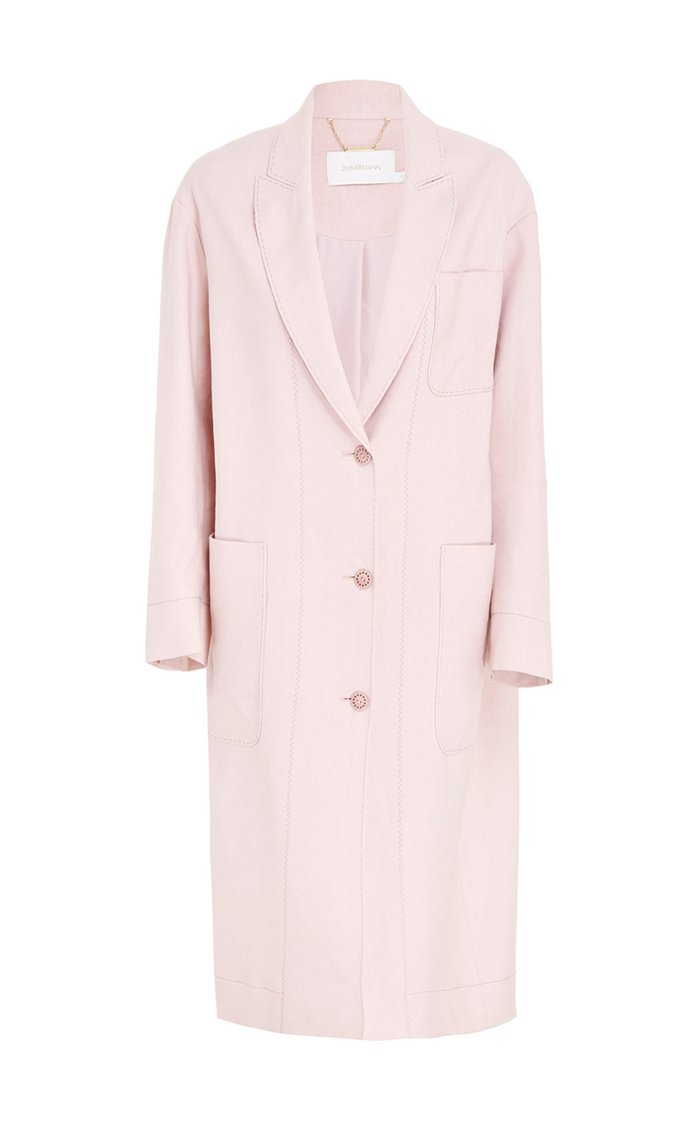 Luminous Belted Linen-Silk Duster Coat
