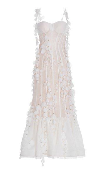 Botanica Petal-Detailed Linen-Silk Maxi Dress