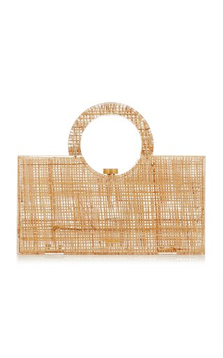 Iman Straw and Acrylic Top Handle Bag
