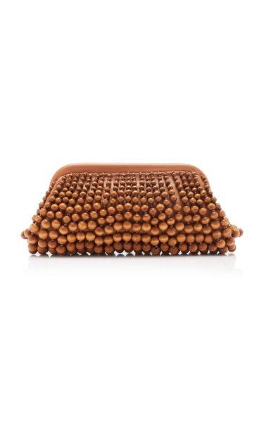 Nia Beaded Wood Leather Clutch